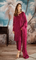Shirt Front: Embroidered Borer Chiffon Shirt Back: Embroidered Borer Chiffon Sleeves: Embroidered Borer Chiffon Dupatta: Embroidered Borer Chiffon Sleeves Lace: Embroidered Silk Trouser: Dyed Raw Silk Trouser Lace: Embroidered Silk
