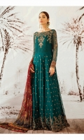 Frock Front & Back: Sequins Embroidered Chiffon Front Bodice: Sequins Embroidered Chiffon Back Bodice: Sequins Embroidered Chiffon Sleeves: Sequins Embroidered Chiffon Dupatta: Sequins Embroidered Printed Chiffon Sleeves Lace: Sequins Embroidered Silk Trouser: Dyed Raw Silk