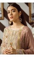 Shirt Front: Embroidered Chiffon with Ada Work Shirt Back: Embroidered Chiffon Sleeves: Dyed Chiffon with Ada Work Dupatta: Dyed Bamber Zari Shawl Front & Back Lace: Embroidered Organza Sleeves Lace: Embroidered Organza Trouser: Dyed Raw Silk