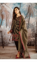 Shirt Front: Sequins Embroidered Chiffon Shirt Back: Sequins Embroidered Chiffon Sleeves: Sequins Embroidered Chiffon Dupatta: Dyed Organza Zari Shawl Dupatta Lace: Embroidered Organza (4 Sides) Sleeves & Back Lace: Embroidered Silk Daman: Embroidered Silk Trouser: Dyed Raw Silk