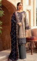 Shirt Front Back & Sleeves: Dyed jacquard Dupatta: Embroidered Viscose Shawl Neck Line: Embroidered Organza Daman Lace: Embroidered Organza Sleeves Lace Embroidered Organza Dupatta Lace 1: Embroidered Silk Dupatta Lace 2: Embroidered Silk Trouser: Dyed Linen