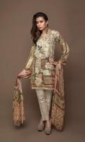 Digital Masoori Lawn Shirt With organza Sleeves With Hem & Beed Work with net Duppata