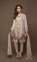 Emb Open Shirt With Golden jacquard Slip Jacquard Trouser & Printed Shifoon Duppata