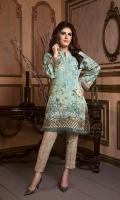 Digital Masoori lawn Shirt with Organza Sleeves & hem & Beeds Work