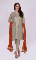 4 Piece Stitched Dress (Shirt, Trouser, Dupatta & Slip) Undershirt with Round neckline and check pintex Thread Embroidery and Tilla work on shirt front & Sleeves, Cutline front open shirt  Fabric (Shirt) Organza Fabric (Undershirt) Cotton Silk Fabric (Trouser) grip silk Fabric (Dupatta) dyed chiffon