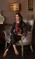 2 Piece Stitched Dress (Shirt & Trouser) Shirt with Round neckline Embroidery and Tilla work on shirt neckline & sleeves Fabric (shirt) Golden jacquard Fabric ( trouser) Golden jacquard
