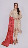 4 Piece Stitched Dress (Shirt, Trouser, Dupatta & Slip) Shirt with Ban neckline Embroidery and sequins work on shirt front & sleeves, shirt stitching style with back tail Fabric (Shirt) Formal Masoori Fabric (Undershirt) Cotton silk Fabric (Trouser) self gold jacquard Fabric (Dupatta) dyed with gold printed chiffon