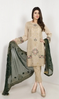 EMB Masoori Shirt With Jacquard Trouser , And Embroidered Duppata