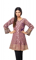 Golden Jacquard Angrakha with Embroidery Border on Sleeve & Tassel On Front Jacquard 1 Pc(Shirt Only)