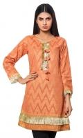 Orange Jacquard Shirt With Tessal On Front Jacquard 1 Pc(Shirt Only)