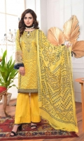 SHIRT PRINTED CAMBRIC WITH EMBROIDERED NECK DUPATTA PRINTED CHIFFON TROUSER DYED CAMBRIC ACCESSORIES EMBROIDERED VELVET BORDER