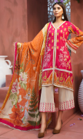 PRINTED & EMBROIDERED FRONT 1.15M PRINTED BACK & SLEEVES 1.85M DYED TROUSER 2.5M LAWN DUPATTA 2.5M EMBROIDERED LACE 1M