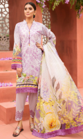 EMBROIDERED FRONT 1.15M PRINTED BACK & SLEEVES 1.85M DYED TROUSER 2.5M CHIFFON DUPATTA 2.5M EMBROIDERED LACE 1M