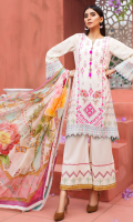 PRINTED FRONT 1.15M PRINTED BACK & SLEEVES 1.85M DYED TROUSER 2.5M CHIFFON DUPATTA 2.5M EMBROIDERED PANEL 1 EMBROIDERED LACE 1M