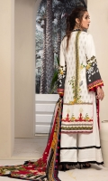 EMBROIDERED FRONT 1.15M PRINTED BACK & SLEEVES 1.85M DYED TROUSER 2.5M CHIFFON DUPATTA 2.5M EMBROIDERED BORDER 0.75M