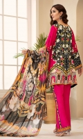 PRINTED & EMBROIDERED FRONT 1.15M PRINTED BACK & SLEEVES 1.85M PRINTED TROUSER 2.5M CHIFFON DUPATTA 2.5M EMBROIDERED PANNEL 1