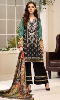 PRINTED & EMBROIDERED FRONT 1.15M PRINTED BACK & SLEEVES 1.85M PRINTED TROUSER 2.5M CHIFFON DUPATTA 2.5M EMBROIDERED BORDER  0.75M EMBROIDERED LACE 1.25M