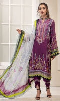 PRINTED & EMBROIDERED FRONT  1.15M PRINTED BACK & SLEEVES  1.85M DYED TROUSER  2.5M CHIFFON DUPATTA  2.5M EMBROIDERED MOTIF 2 EMBROIDERED LACE 1.25M