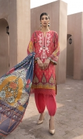 PRINTED & EMBROIDERED FRONT      1.15M  PRINTED BACK & SLEEVES   1.85M  DYED TROUSER      2.5M  LAWN DUPATTA     2.5M  EMBROIDERED BORDER   .75M