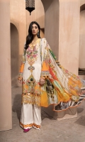 PRINTED & EMBROIDERED FRONT      1.15M  PRINTED BACK & SLEEVES   1.85M  DYED TROUSER      2.5M  CHIFFON DUPATTA                2.5M  EMBROIDERED LACE            1M