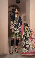 Printed & embroidered front      1.15M  Printed back & sleeves   1.85M  Dyed trouser      2.5M  Lawn dupatta     2.5M  Embroidered neckline    1M