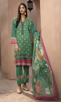 EMBROIDERED FRONT           1.15M  PRINTED BACK & SLEEVES   1.85M  DYED TROUSER      2.5M  LAWN DUPATTA     2.5M