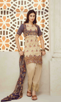 Printed and Embroidered front 1.25 M Printed back and sleeves 1.9M Printed trouser 2.5 M Chiffon Dupatta 2.5M Embroidered Lace 0.75M