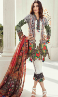 Printed front 1.25 M Printed back and sleeves 1.9M Printed trouser 2.5 M Chiffon Dupatta 2.5M, Embroidered lace 0.9M, Embroidered Patti 1M
