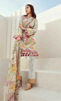 Printed front 1.25 M Printed back and sleeves 1.9M Printed trouser 2.5 M Chiffon Dupatta 2.5M Embroidered Motif 2 Embroidered Lace 1M