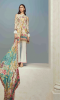 Printed and Embroidered front 1.25 M Printed back and sleeves 1.9M Dyed trouser 2.5 M Silk Dupatta 2.5M Embroidered Patti 1 M
