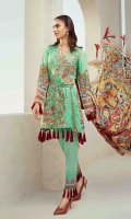 Printed and Embroidered front 1.25 M Printed back and sleeves 1.9M Printed trouser 2.5 M Chiffon Dupatta 2.5M Embroidered Motif 1M