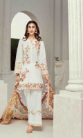 Printed front 1.25 M Printed back and sleeves 1.9M Printed trouser 2.5 M Silk Dupatta 2.5M Embroidered Motif 5 Embroidered lace 1M