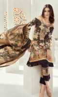 Printed front 1.25 M Printed back and sleeves 1.9M Dyed trouser 2.5 M Silk Dupatta 2.5M Embroded Motif 1 Embroidered Lace 1M