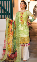 PRINTED & EMBROIDERED FRONT 1.25M PRINTED BACK & SLEEVES 1.9M PRINTED JACQUARD TROUSER 2.5M SHIFLEY CHIFFON DUPATTA 2.5M EMBROIDERED LACE 0.75M EMBROIDERED NECKLINE 0.6M