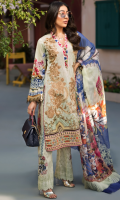 PRINTED & EMBROIDERED FRONT 1.25M PRINTED BACK & SLEEVES 1.9M PRINTED JACQUARD TROUSER 2.5M CHIFFON DUPATTA 2.5M EMBROIDERED MOTIF 2