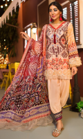 EMBROIDERED FRONT 1.25M PRINTED BACK & SLEEVES 1.9M DYED JACQUARD TROUSER 2.5M CHIFFON DUPATTA 2.5M EMBROIDERED PANNEL 1