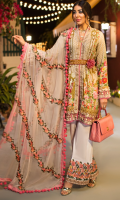 PRINTED FRONT 1.25M PRINTED BACK & SLEEVES 1.9M DYED JACQUARD TROUSER 2.5M EMBROIDERED CHIFFON DUPATTA 2.5Y EMBROIDERED LACE 1M EMBROIDERED NECKLINE 2M