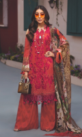 EMBROIDERED FRONT 1.25M PRINTED BACK & SLEEVES 1.9M PRINTED JACQUARD TROUSER 2.5M CHIFFON DUPATTA 2.5M EMBROIDERED LACE 0.75 M EMBROIDERED PANNEL 1