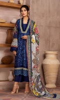 EMBROIDERED FRONT 1.15M PRINTED BACK & SLEEVES 1.85M DYED TROUSER 2.5M CHIFFON DUPATTA 2.5M EMBROIDERED BORDER .75M