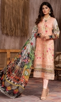 PRINTED & EMBROIDERED FRONT  1.15M PRINTED BACK & SLEEVES  1.85M DYED TROUSER  2.5M CHIFFON DUPATTA   2.5M