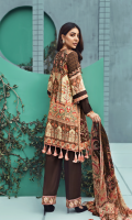Printed front 1.25 M Printed back and sleeves 1.9M Dyed trouser 2.5 M Chiffon Dupatta 2.5M Embroidered Border 0.75M Embroidered lace 0.9M