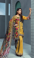 Printed front 1.25 M Printed back and sleeves 1.9M Dyed trouser 2.5 M, Chiffon Dupatta 2.5M Embroidered Motif 1 and Embroidered lace 1.8M