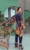 Printed front 1.25 M Printed back and sleeves 1.9M Printed trouser 2.5 M Chiffon Dupatta 2.5M Embroidered Motif 2 Embroidered Lace 0.9M