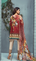 Printed front 1.25 M Printed back and sleeves 1.9M Dyed trouser 2.5 M, Chiffon Dupatta 2.5M Embroidered Motif 1 and Embroidered Patti 0.9 M