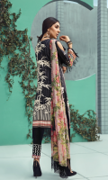 Printed front 1.25 M Printed back and sleeves 1.9M Dyed trouser 2.5 M Chiffon Dupatta 2.5M Embroidered Motif 2 and Embroidered Lace 0.9M
