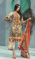 Printed front 1.25 M Printed back and sleeves 1.9M Printed trouser 2.5M Chiffon Dupatta 2.5M Embroidered Motif 1 Embroidered Lace 0.9M