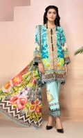 PRINTED FRONT 1.25M PRINTED BACK & SLEEVES 1.9M DYED TROUSER 2.5M CHIFFON DUPATTA 2.5M EMBROIDERED LACE 1M EMBROIDERED PATTI 1M EMBROIDERED PANNEL 1 EMBROIDERED MOTIF 2