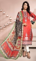 EMBROIDERED FRONT 1.25M PRINTED BACK & SLEEVES 1.9M DYED TROUSER 2.5M CHIFFON DUPATTA 2.5M EMBROIDERED BORDER 0.75M EMBROIDERED MOTIF 1
