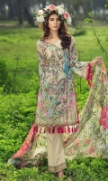 Printed front 1.25 M Printed back and sleeves 1.9M Printed trouser 2.5 M Chiffon Dupatta 2.5M Embroidered Motif 1.
