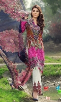Printed front 1.25 M Printed back and sleeves 1.9M Printed trouser 2.5 M Chiffon Dupatta 2.5M Embroidered border 0.75 Embroidered lace 0.9M